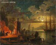 Неизвестный художник. Вид в окрестностях Читта Нуова в Иллирии при лунном освещении. Начало XIX века.